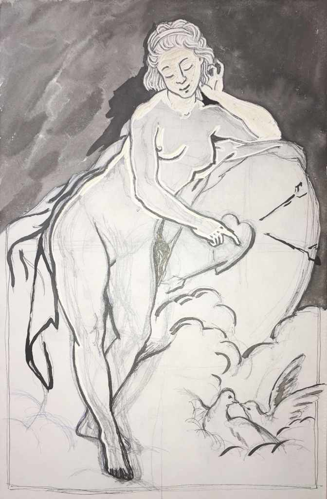 Venus after Boucher, lino print work in progress.