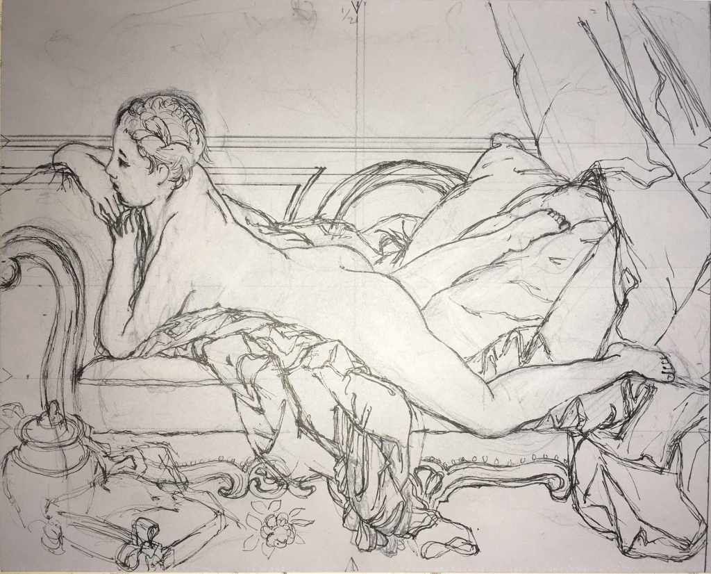 Copy after Boucher's Jeune fille allongée, ink on lino